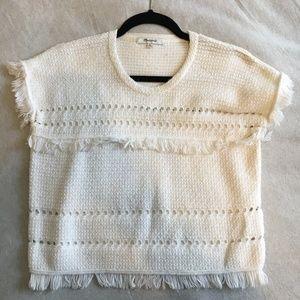 Madewell Cream Fringe Sleeveless Sweater